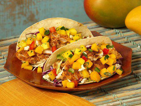 Mango Catfish Taco, Taco, Cooking, Mexican, Sauce, Food