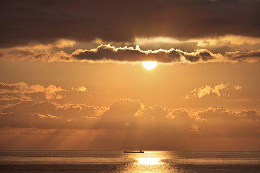 Dawn, Sea, Landscape, The Glare, Sky, Sun, Clouds