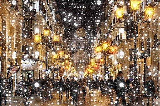 Snowfall, Shopping Arcade, Purchasing, Christmas
