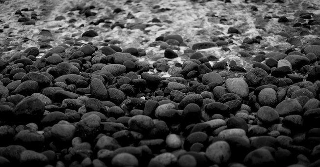 Stones, Sea, Beach, Rocks, Black And White