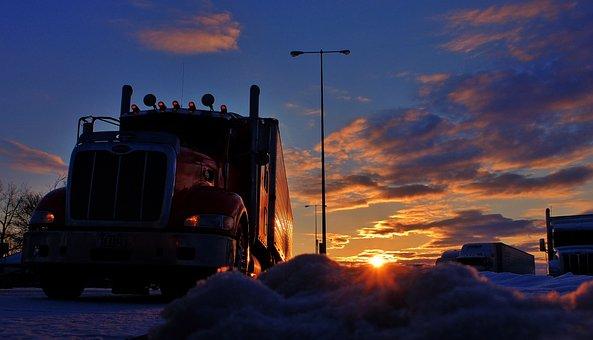 Trucker, Sunrise, Truck Stop, Sunset, Transportation