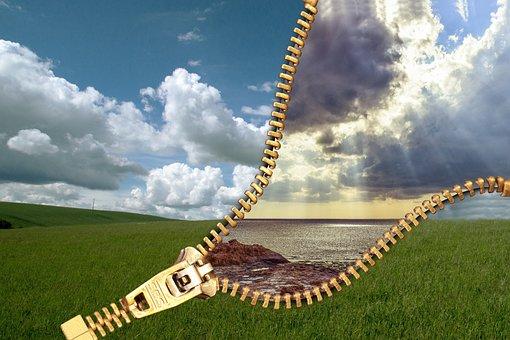 Zipper, Closure, Lock, Sky, Meadow, Water, Sea, Clouds