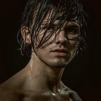 Portrait, Boy, Young, Brunet, Closeup, Wet, Hair