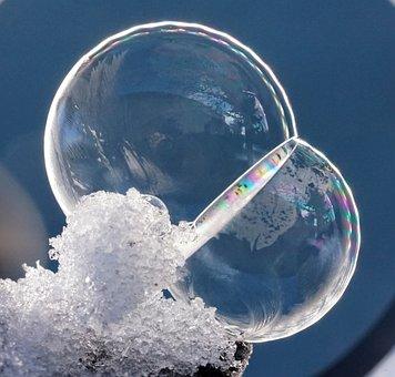 Soap Bubbles, Snow, Ice, Winter, Frozen, Frozen Bubble