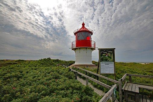 Amrum, Lighthouse, Beacon, Daymark, Dune, Sky, Clouds