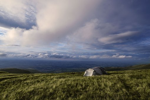 Camping, Wales, Brecon Beacons, Tent, Sky, Clouds