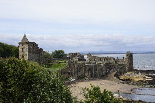 Scotland, St Andrews, Castle, Beach, Fife, Scottish