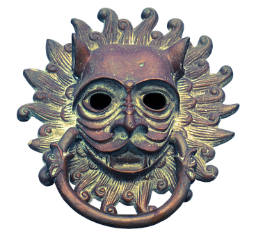 Doorknocker, Fitting, Old, Face, Ears, Metal, Antique