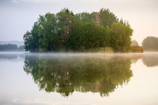 Lake, Mirroring, Fog, Landscape, Water, Reflection