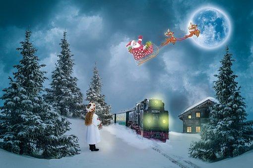 Christmas, Christmas Motif, Santa Claus, Reindeer, Girl