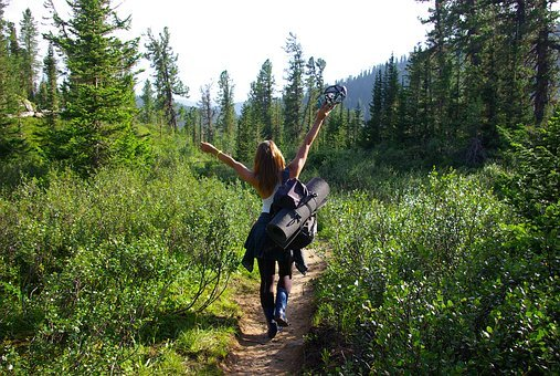 Woman, Freedom, Forest, Hiking, Happy, Female, Summer