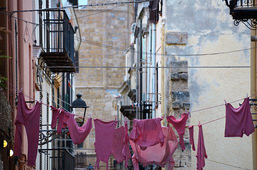 Sardinia, Alghero, Old Town, Laundry, Pink