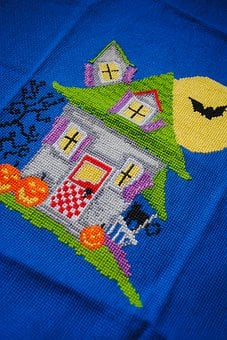 Embroidery, Bright, House, Halloween, Mansion