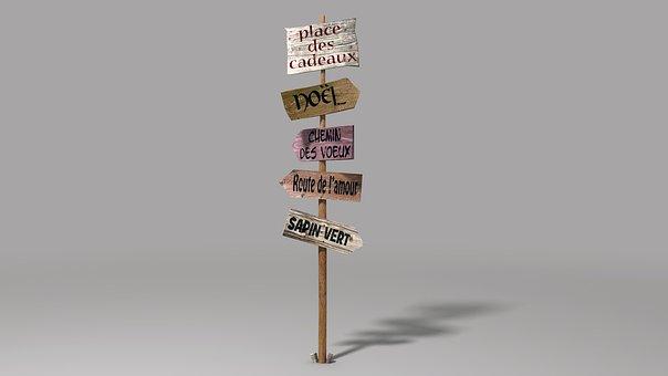 Sign, Panel, Warning, Message, Direction, Christmas