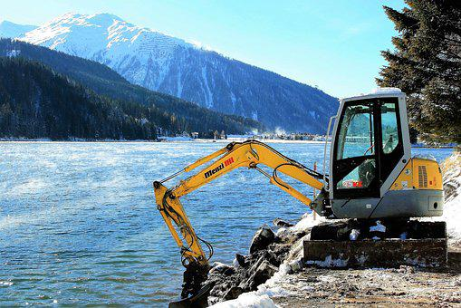 Excavator, Mountains, Snow, Lake, Beach, Landscape