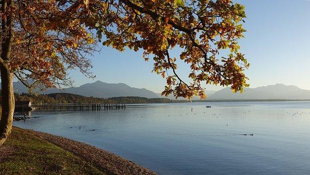 Autumn Mood, Lake, Chiemsee, Mountains