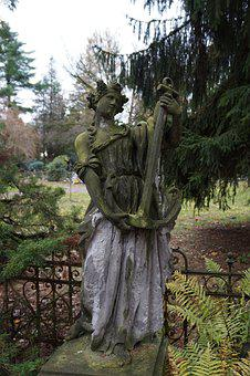 Figure, Old, Weathered, Statue, Green, Woman, Cemetery