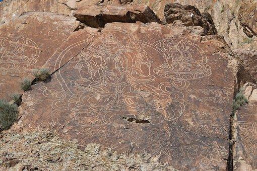 Rock Painting, Tamgaly Tas, Buddha, Summer, Mountains