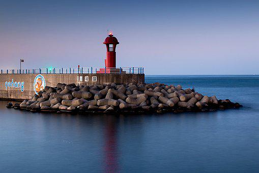 Lighthouse, Sea, Beach, Nature, Night, Long Exposure