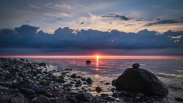 Stones, Sunset, Holiday, Baltic Sea, Sea, Water, Coast
