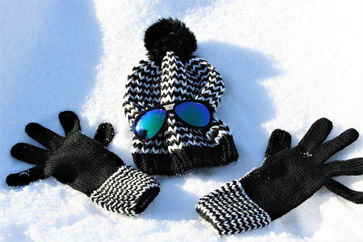 Cap, Gloves, Wool, Snow, Glasses, Frost, Winter, White