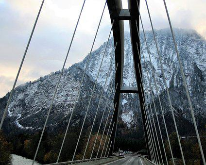 Bridge, Rope, Steel, Highway, Top View, Snow, The Alps