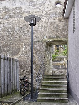 City Wall, Passage, Stairs, Alley, Lantern, Street Lamp