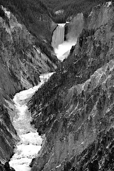 Yellowstone National Park, River, Nature, Waterfall