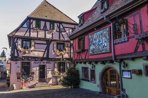 France, Alsace, Truss, Advent, Old Town, Riquewihr