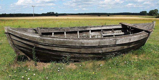 Kahn, Boot, Wooden Boat, Meadow, Wood, Broken