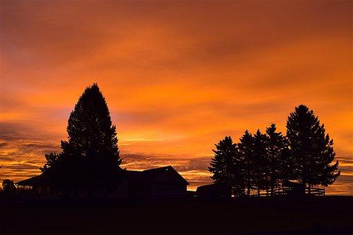 Sunrise, Sky, Silhouette, Trees, Clouds, Dawn, Mountain