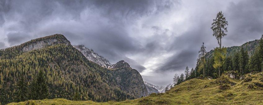 Pasture, Panorama, Atmospheric, Dramatic, Alpine