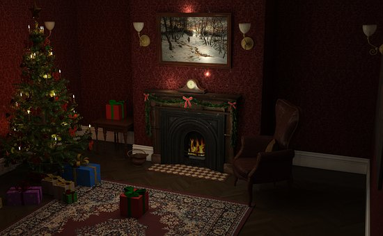 Christmas, Fir, Fireplace, Gifts, Christmas Decorations
