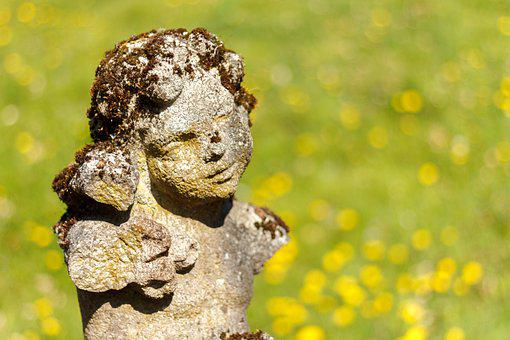 Patina, Angel, Sculpture, Stone, Face, Garden