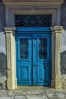 Gate, Door, Blue, Wooden, Entrance, House, Architecture