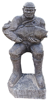 Fischer, Sculpture, Holzfigur, Fish, Man, Male