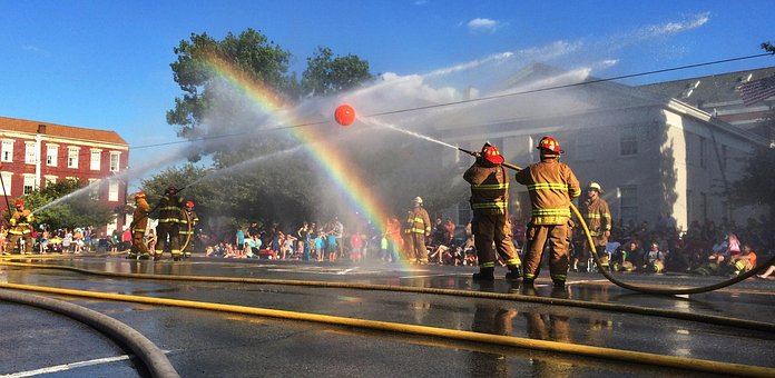 Firefighters, Rainbow, Waterball, Contest, Madison