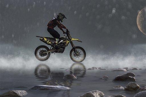 Motorcycle, Water, Motorcycling, Sky, Gloomy