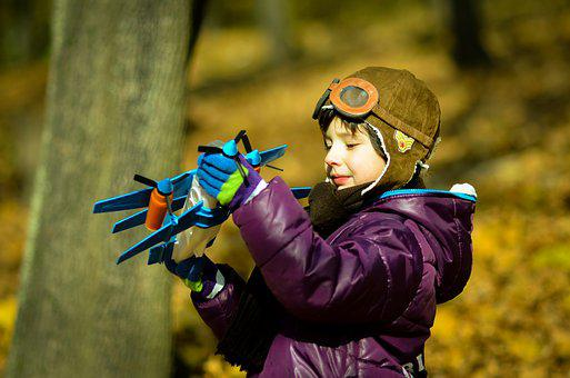 Boy, Plane, Helmet, Pilot, Vintage, Toy, Autumn, Park