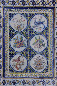 Portugal, Ceramic Tiles, Wall, Covering, Food, Fruit