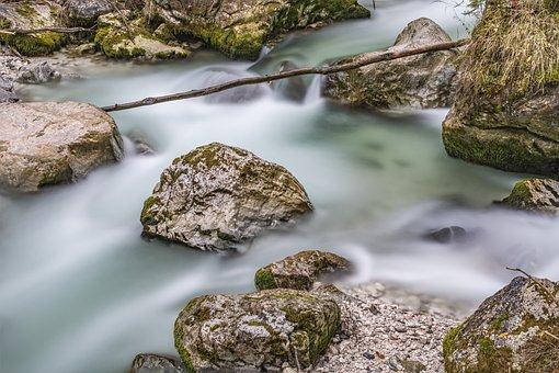 Ramsauer Ache, Ramsau, Water, River, Long Exposure