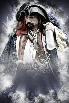 Pirate, Bottle, Rum, Buccaneer, Captain, Costume, Hat