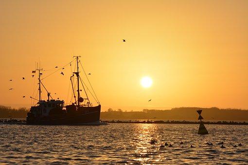 Ship, Boje, Sea, Sunset, North Sea, Fehmarn, Landscape