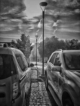Black, White, Sky, Clouds, Cars, Nostalgy, City