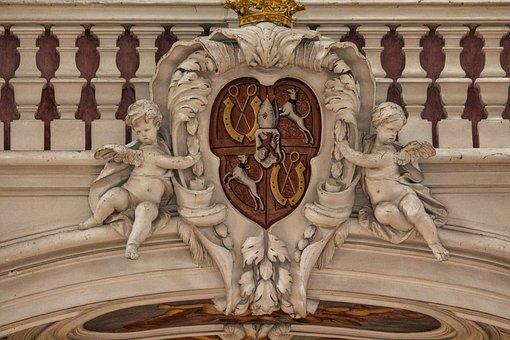 Cherub, Pillar, Coat Of Arms, Gallery, Stone Figure