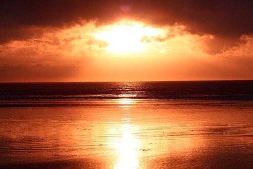 Shine, Beach, Reflection, Sea, Sunset, Sunlight, Sand