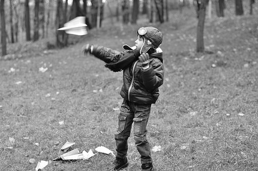 Aircraft, Paper Plane, Toy, Boy, Autumn, Park, Photo
