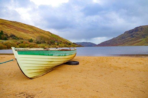 Boat, Sand, Lake, Water, Fall, Grey Sky, Calm, Solitude