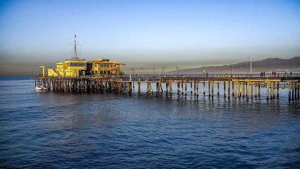 Ocean, The Pier, Water, Waves, Sunrise, The Waves