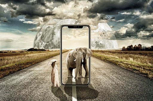 Iphone X, Surreal, Elephant, Women, Landscape